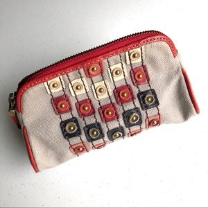 Fossil Canvas Leather Make-Up Cosmetic Bag